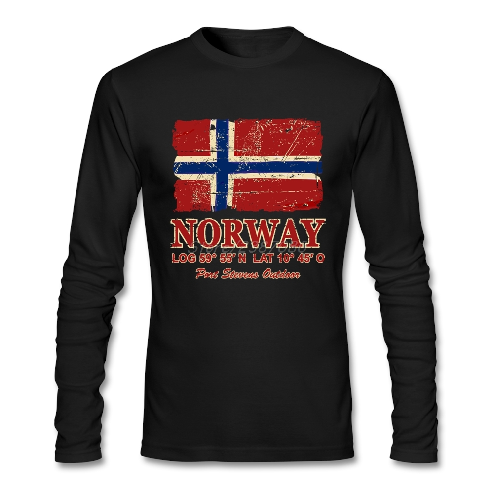 Pop Norway Flag Vintage Look T Shirt Tv Men's Clothes Cotton Crewneck Long Sleeve Custom  Men Shirts