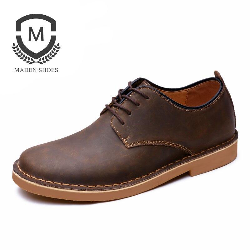 Марка маден 2018 весна осень Новый Мужская обувь ручной работы высокого качества кожаная универсальная мужская Повседневная обувь классический Ретро мужская обувь