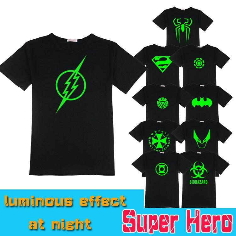 Luminous shirt Iron Man/Batman/Green Lantern/X Men/Captain America/Resident Evil/Spider Man/ Superman t shirt cool Couple Tee
