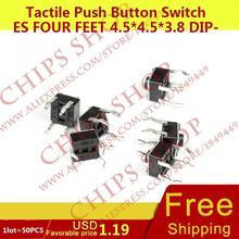 1 лот = 50 шт. Тактильные кнопочный Настенные переключатели четыре Средства ухода за кожей стоп 4.5*4.5*3.8 DIP-4 Топ приводом черный seriestc-0516