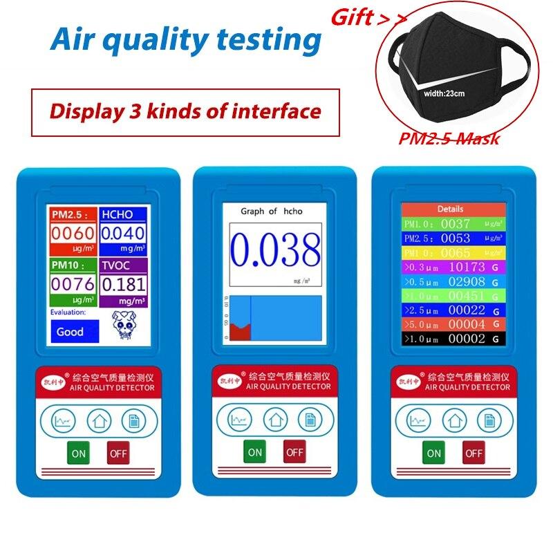 Formaldeyde HCHO PM1.0 PM2.5 PM10 Gas Analyzer TVOC Particles Detector Meter PM 2.5 PM 10 Tester Air Quality AnalyzerFormaldeyde HCHO PM1.0 PM2.5 PM10 Gas Analyzer TVOC Particles Detector Meter PM 2.5 PM 10 Tester Air Quality Analyzer