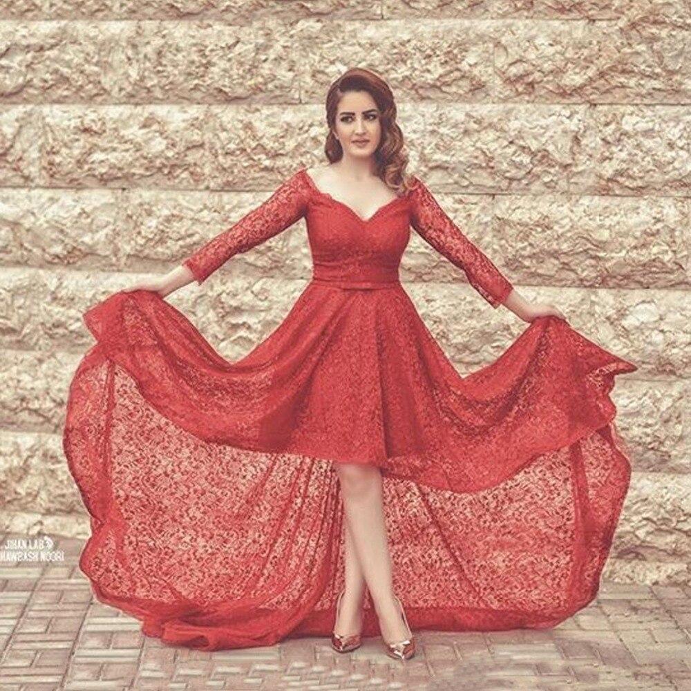 Bonito Vestido Largo Del Baile De Encaje Rojo Ideas Ornamento ...