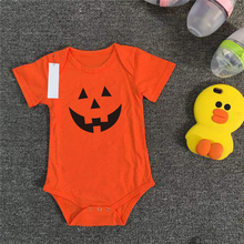 Orange Halloween Pumpkin Baby Romper Costume For Kids Girls Boys Baby Rompers Infant Clothing Summer Children Jumpsuits