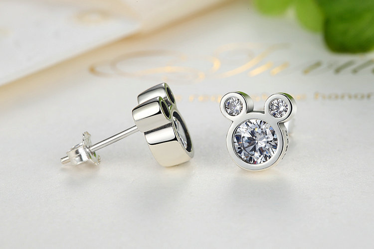 PE Melisa Elegant Charming Small Gold Ball Black Plum Flower Double Sides Stud Earring Prom Wedding Pressent