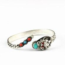 Tybetańskie bransoletki metalowy miedziany smok Amulet otwarty mankiet bransoletka Nepal Vintage ręcznie robiona biżuteria BB 271