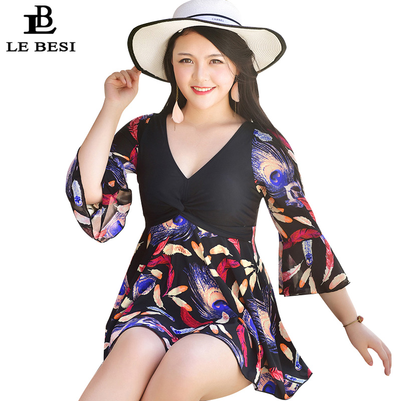 LEBESI 2017 Mother's One Piece Swimsuit Plus Size Women Skirt Swimwear XL-5XL 100kg Bathing Suit Print Floral Monokini Bodysuit plus size scalloped backless one piece swimsuit