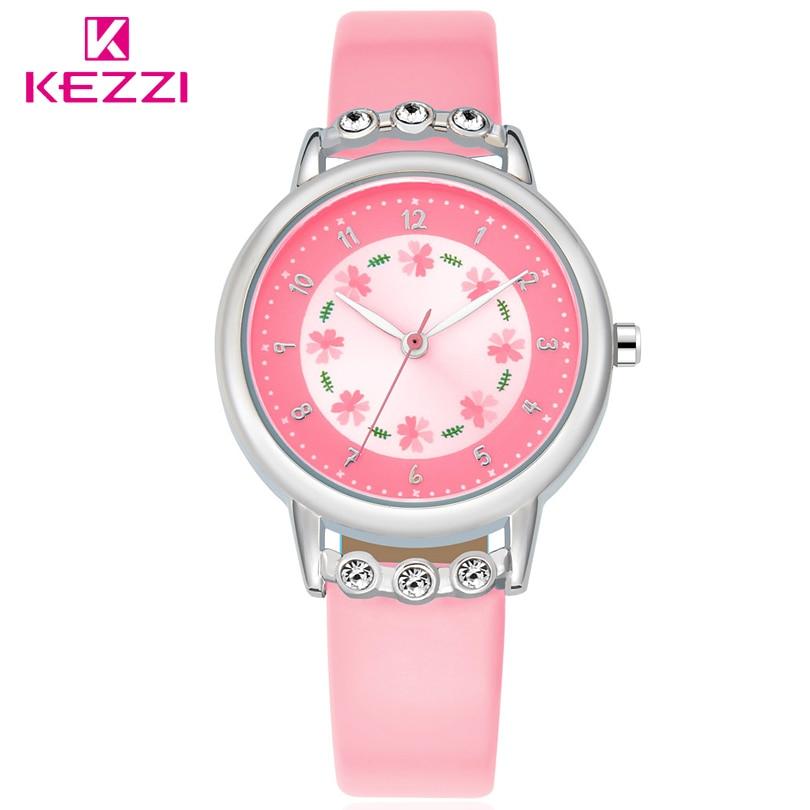 KEZZI Brand Lovely Children Rhinestone Flower Wristwatch Girl Gift Analog Watch Leather Strap Student Cartoon Quartz-Watch Clock