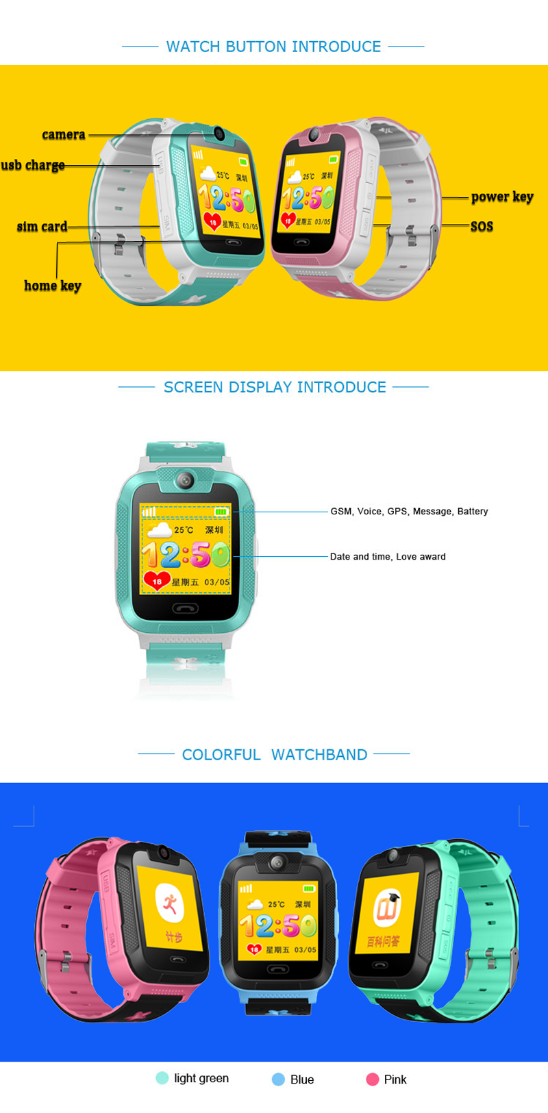 Kids 3G Smartwatch with 2 way calls, GPS and camera 5