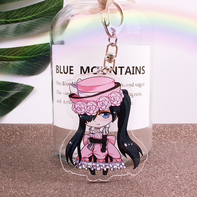 Anime Black Butler Keychains Fashion Japanese Cartoon Figure Sebastian Michaelis Acrylic Car Key Chains Holder Keyrings Jewelry