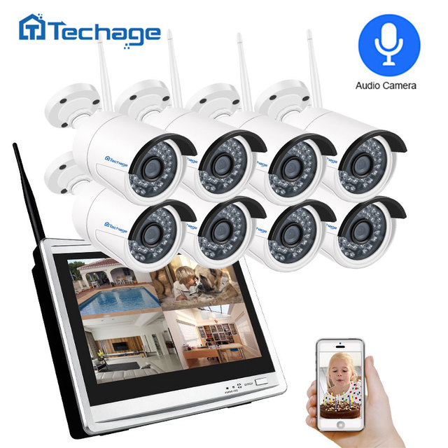 "Techage 8CH 1080P نظام كاميرا أمان لاسلكية 12 ""شاشة LCD واي فاي NVR 2MP في الهواء الطلق الصوت كاميرا نظام مراقبة بالفيديو مجموعة"
