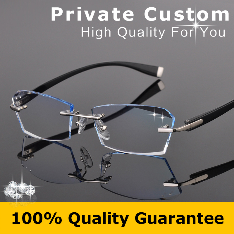 Rimless Glasses With High Prescription : Super Toughness TR Frame Eyeglasses Man Myopic ...