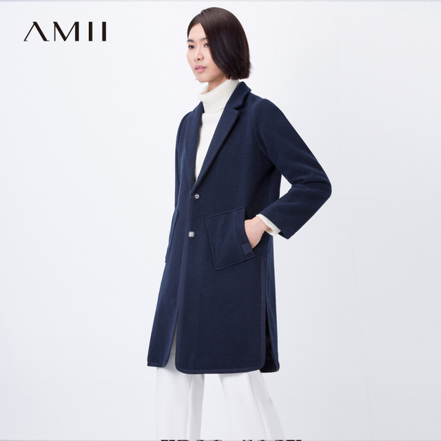 Amii Casual mujer abrigo de lana de invierno de 2017 solo Breasted giro-abajo Collar de bolsillo mujer mezclas de lana