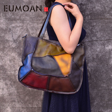 genuine Leather handbags patchwork 2019 new the first layer of leather lady retro large handbag simple manual rub shoulder bag недорого