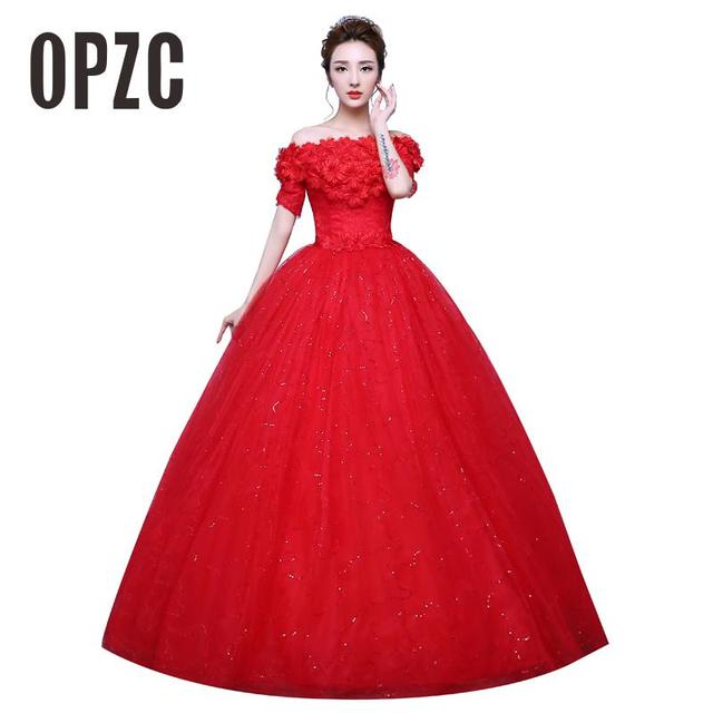 Real Photo Girl Flower Wedding Dress 2017 New Korean Style Boat Neck Half  Sleeves White Red Princess Cheap Bride Ball Gown M0803 79b9b00aa4c7