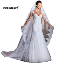 Doragrace White Ivory Cathedral Length Lace Edge Bridal Head Veil With Comb Long Wedding Accessories