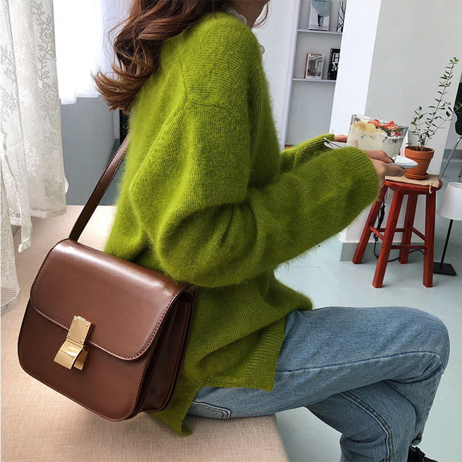 Casual PU Messenger Bags For Women Commuter Designer Shoulder Crossbody Bag Simple Small Phone Purses Bolsa Feminina Chic Sac