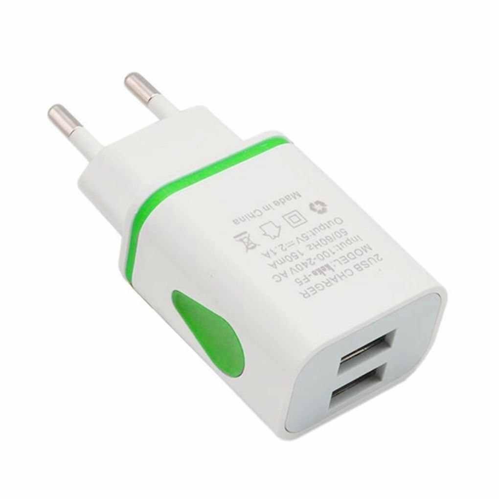 Dual USB Charger 2.1A 5V Cepat Pengisian Charger Dinding USB Lampu LED Ponsel Micro Data Charging Plug