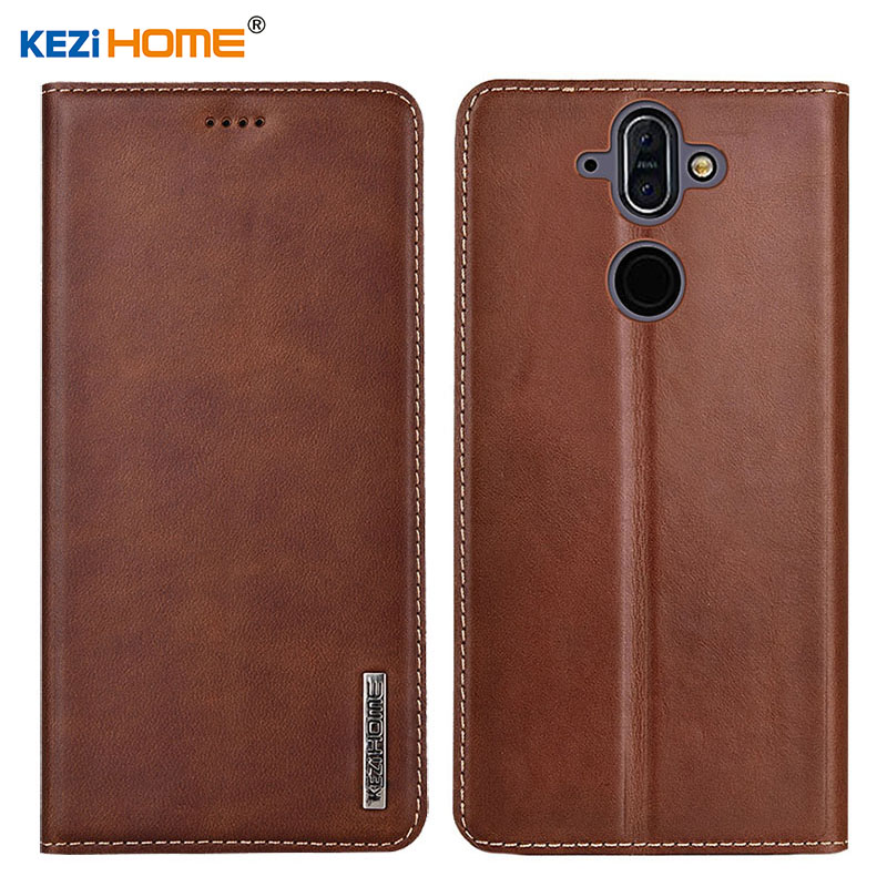 Case for Nokia 8 Sirocco KEZiHOME Luxury Genuine Leather Flip wallet Cover for Nokia 8 Sirocco 5.5'' Phone cases