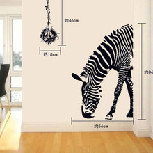 Free shipping Large Removable Wall Decals Zebra Animal Head Decoration European Wallpaper Style Sticker