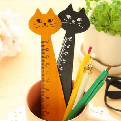 1ชิ้น15เซนติเมตรน่ารักแมวรูปร่างไม้บรรทัดไม้น่ารักสัตว์ไม้บรรทัดตรงอุปกรณ์การเรียนเครื่องเขียน