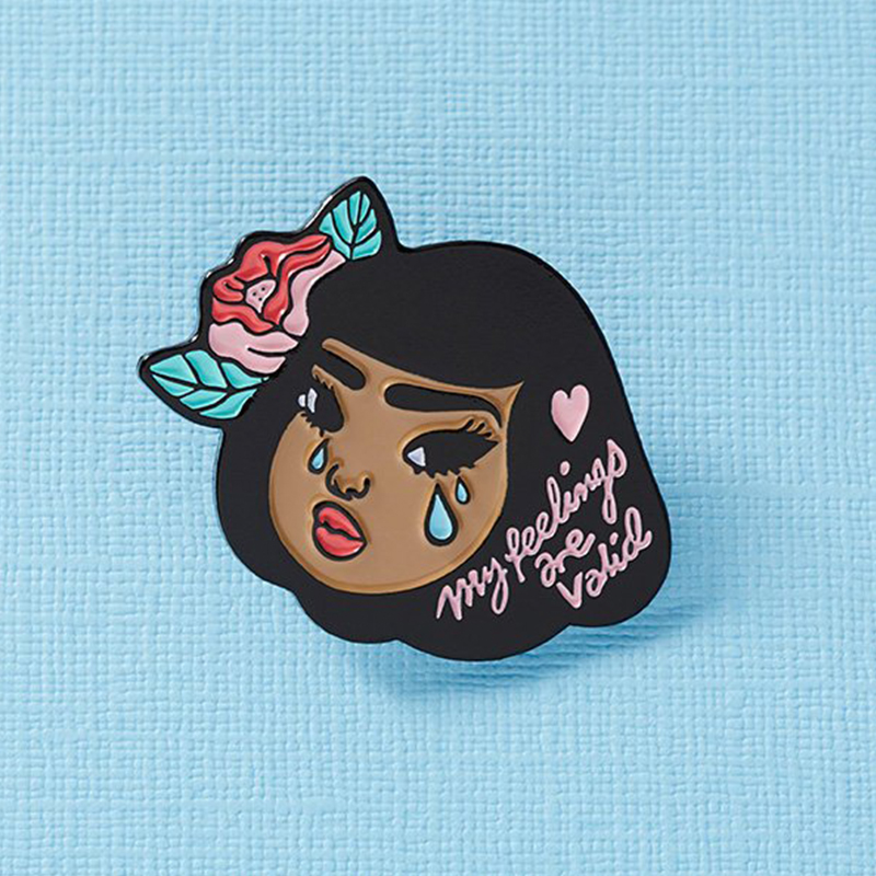Lola Enamel Pin My Feelings are Valid crybaby badge, mental health brooch-in Pins & Badges from Home & Garden