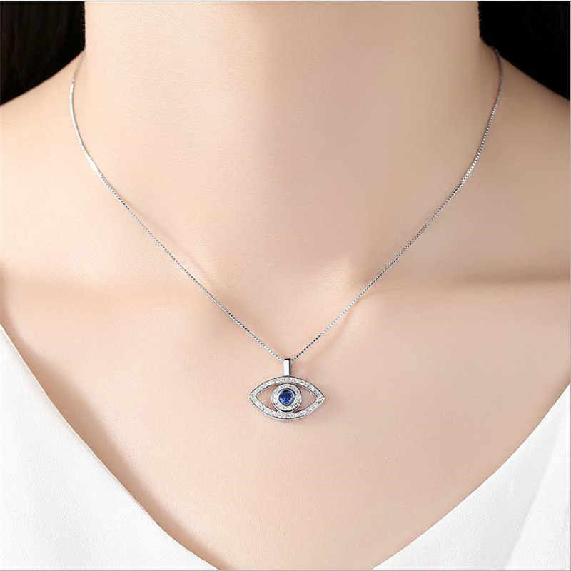 LUKENI Charm Crystal Eye Rose Gold Female Pendants Necklace Jewelry Girl Fashion 925 Sterling Silver Choker Necklace Accessories
