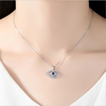 LUKENI Charm Crystal Eye Rose Gold Female Pendants Necklace Jewelry Girl Fashion 925 Sterling Silver Choker Accessories