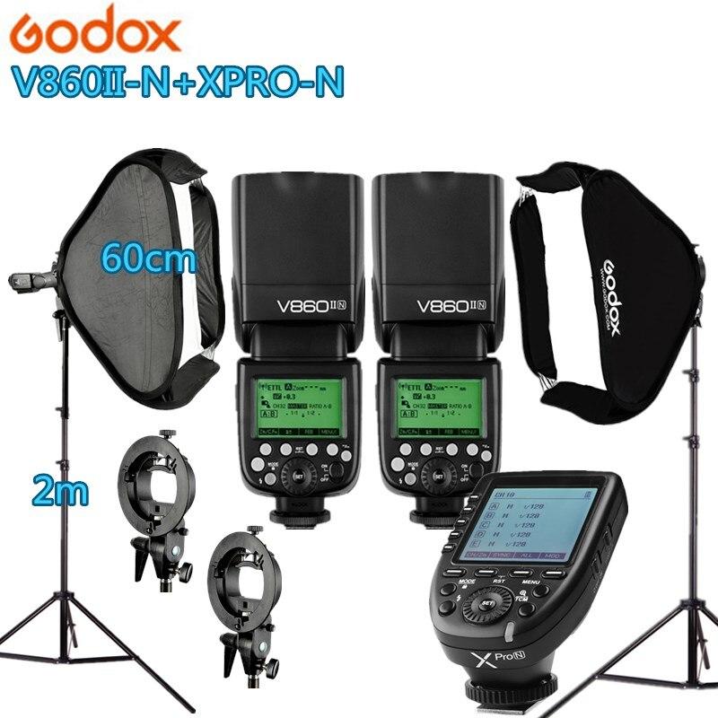 Фотостудия фотографический набор 2 godox V860IIN фонарик комплект камера и аксессуары для фото 2 осветительная стойка 2 софтбокс для камеры Фото