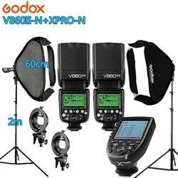 Photo Studio Photographic Kit 2 godox V860IIN FlashLight Kit Camera & Photo Accessories 2 light stand 2 softbox for Camera Photo
