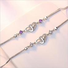 TJP Charm Female Purple Crystal Bracelets Accessories Top Quality Girl 925 Silver Heart For Women Bride Engagement Hot