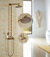 8 Antique Brass Bathroom Shower Set Ceramic W Hand Shower Wall Mounted Rainfall Shower Faucet