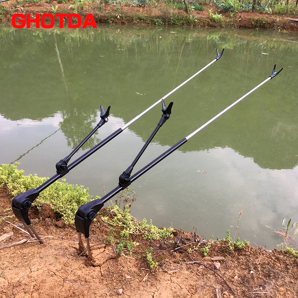 Fish Rod Stand Bracket Angle Adjustable Fishing Rods Holder 1.7M 2.1M Telescoping Fishing Tool Hand Rod Holder