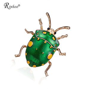 RINHOO New Enamel Green Insect Brooch Gold-Color Yellow Spot Beetle Hijab Pins UP Women Kid Corsage Cute Animal Bijoux Broche