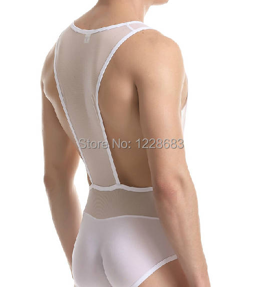 3254b06425cc2c Mens Gymnastics Leotards 1 Piece Sexy Breathable Stretch Mesh Front And T  Back Crossfit Fitness Clothing Free Shipping-in Gymnastics from Sports ...