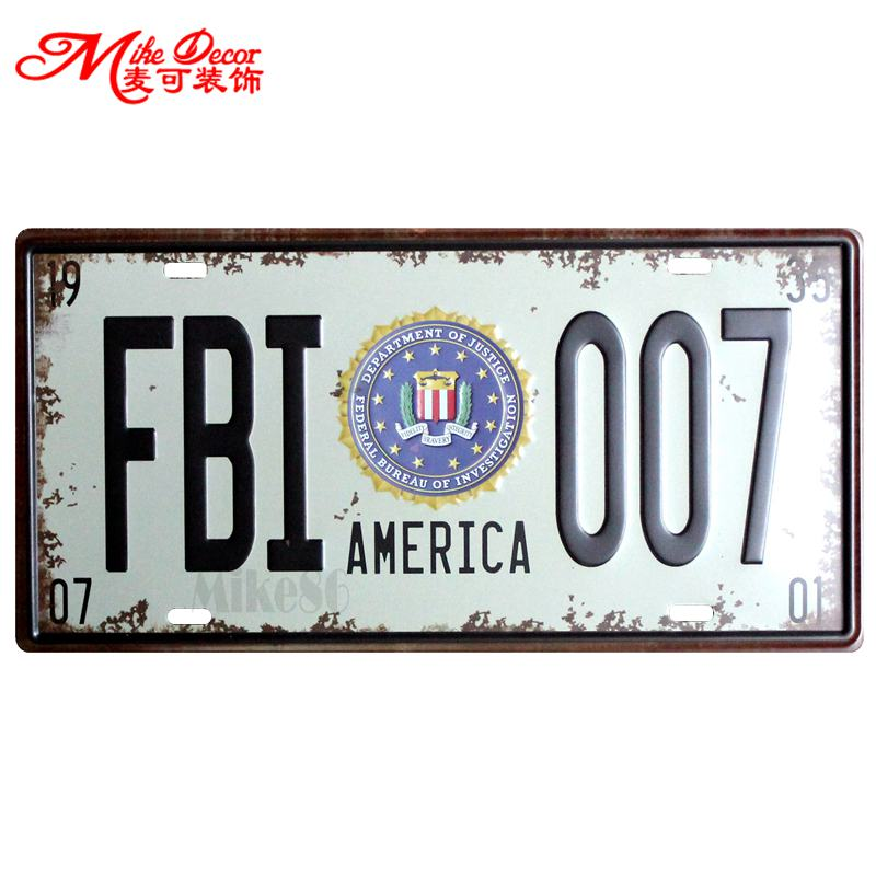 [ Mike86 ] FBI 007 USA License Plates Metal Painting decor Tin sign GiftCraft D-223 mix order 30*15 CM