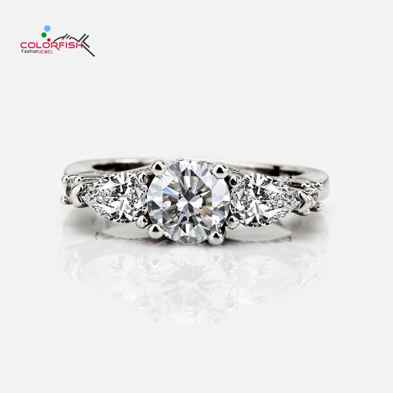 COLORFISH Pear Round Cut 1 Ct Solid 925 Sterling Silver Three Stone Engagement Rings For Women Luxury Anniversary Jewelry Ring