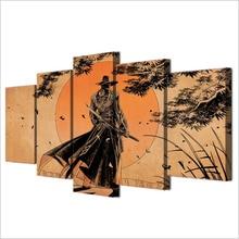 Five Piece Anime Samurai Print Wall Canvas