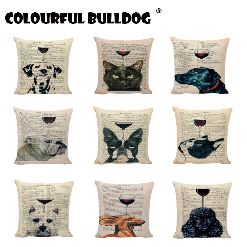 Personalized Dogs Cushion Covers Retro Elephants French Bulldogs Dalmatians Pillow Cases Home Decora Sofa Seat Pugs Travesseiro