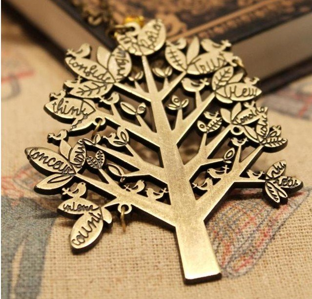 vintage style bronze letter bird wish tree of life pendant necklace sweater long chain jewelry for