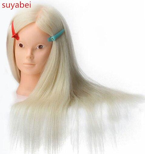 About 60CM hair length 85% natural human hair mannequin head doll head with hair practice head hair Head Training Wig