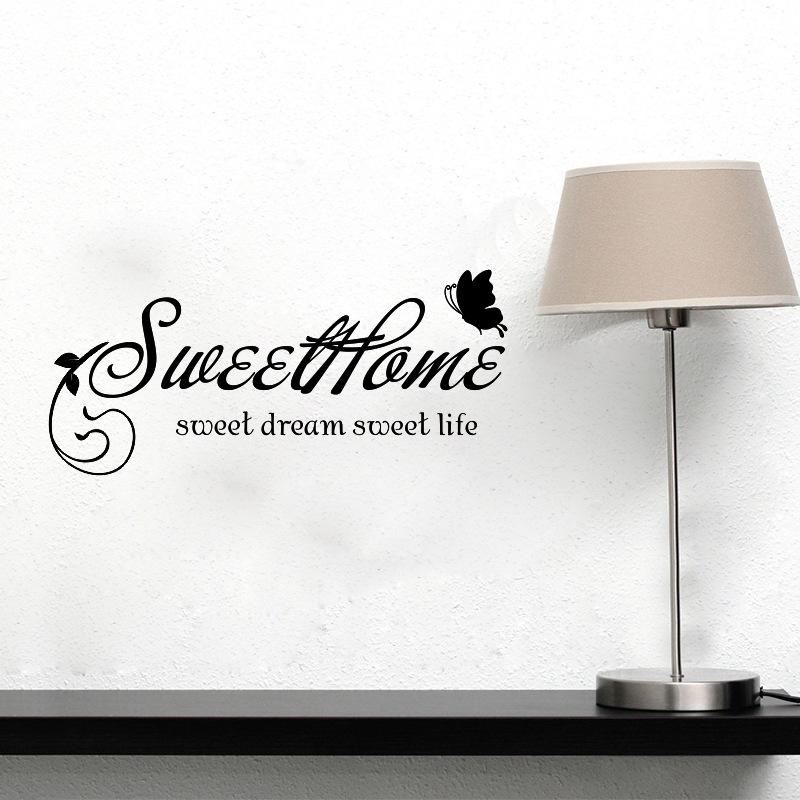 Sweet Home Englisch Aufkleber Wohnzimmer Schlafzimmer Wand Grosshandel BenutzerdefinierteChina