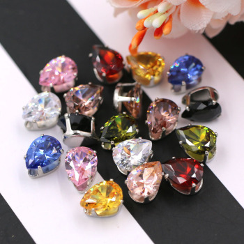 6X8mm flatback sliver base sew on rhinestones teardrop shape Zircon artificial gemstone with claw DIY jewelry Accessories