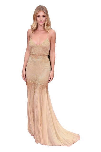 high quality 2017 gold mermaid celebrity dresses spaghtetti straps v neck sexy backless red carpet dresses prom party gowns