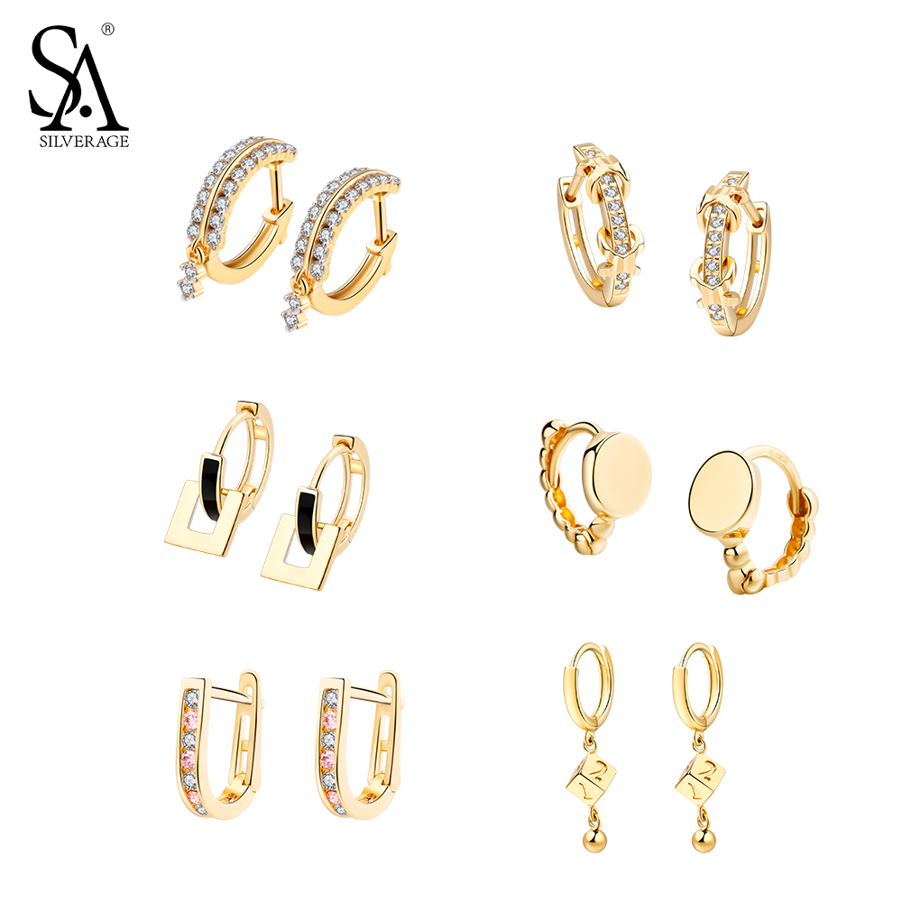 SA SILVERAGE 925 Sterling Silver Gold Plated Hoop Earrings for Women AAA Zirconia Hanging Earrings 925 Silver Earrings Six Shape starry pattern gold plated alloy rhinestone stud earrings for women pink pair