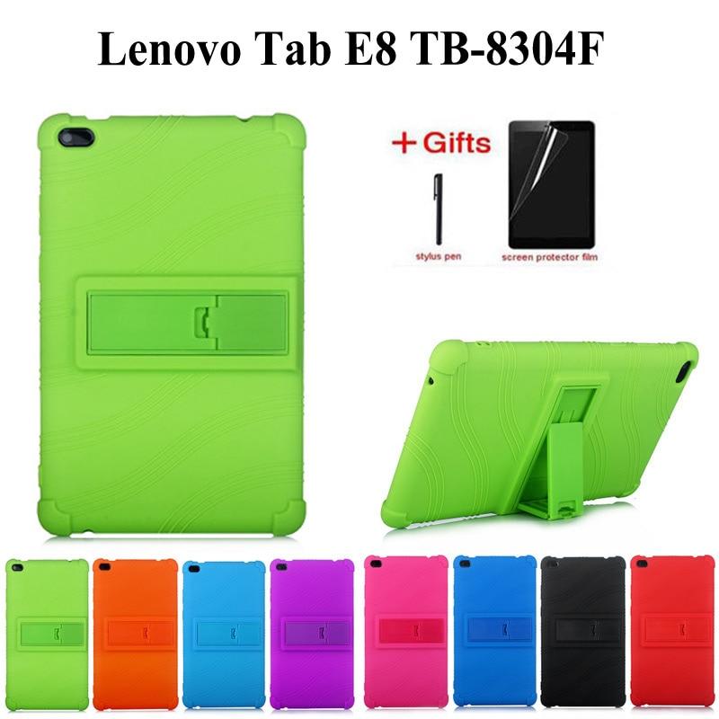 Child Safety Shockproof Case For Lenovo TAB E8 TB-8304 Soft Slicilon Cover For 2018 Release Tablet Tab E8 TB-8304F Case+film+pen