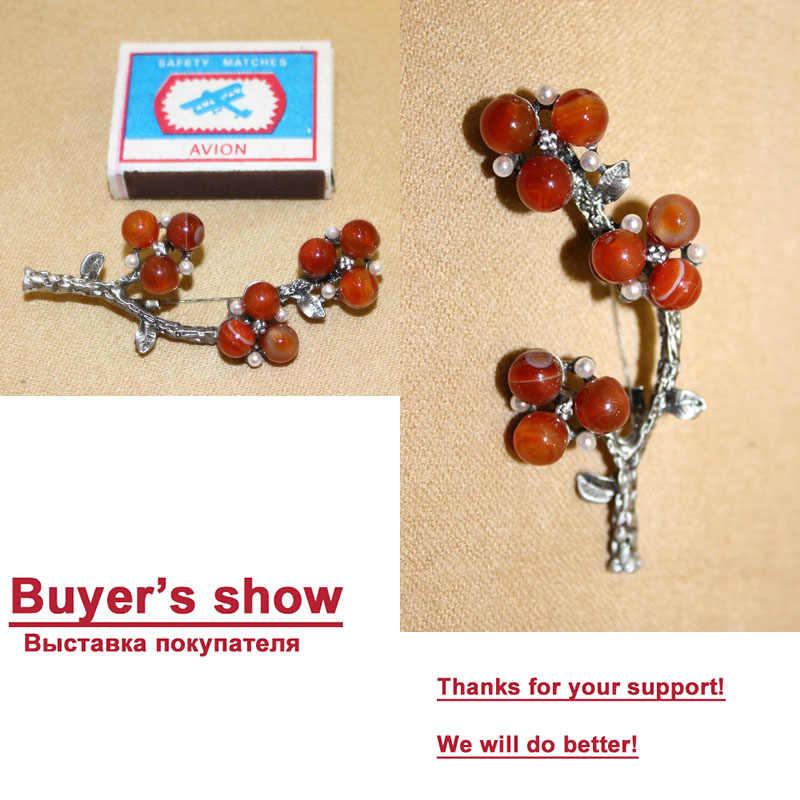 Ajojewel Merek Cina Merah Alam Batu Vintage Bunga Bros Perhiasan Wanita Hadiah