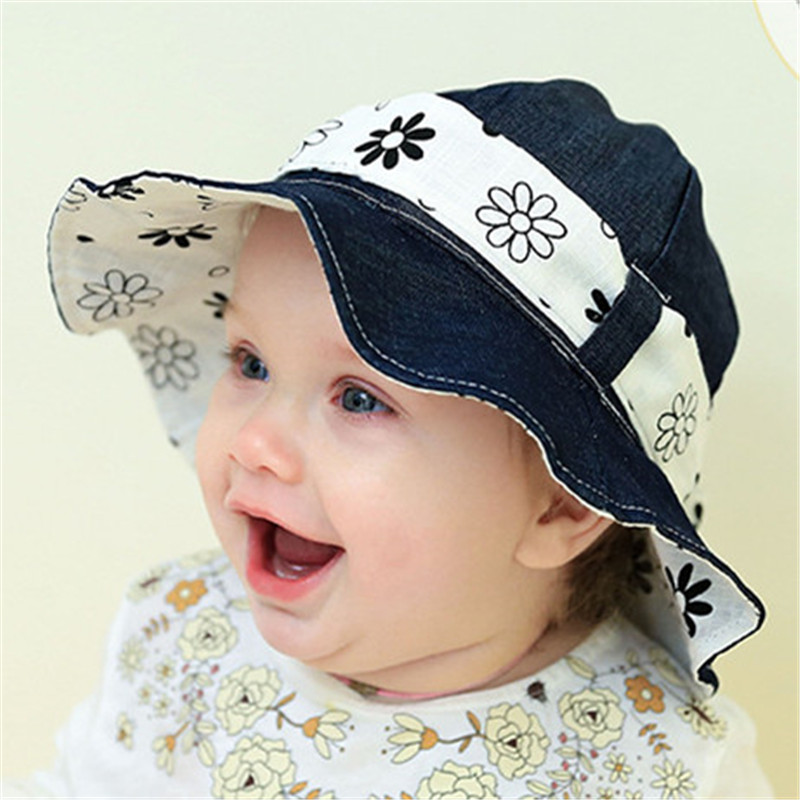 Baby Summer Outdoor Bucket Hat Children Floral Print Denim Cap Sun Beach Cap Lovely Lace Princess Baby Girl Brim Sun Hats fashion baseball caps women hip hop cap floral summer embroidery spring adjustable hat flower ladies girl snapback cap gorras