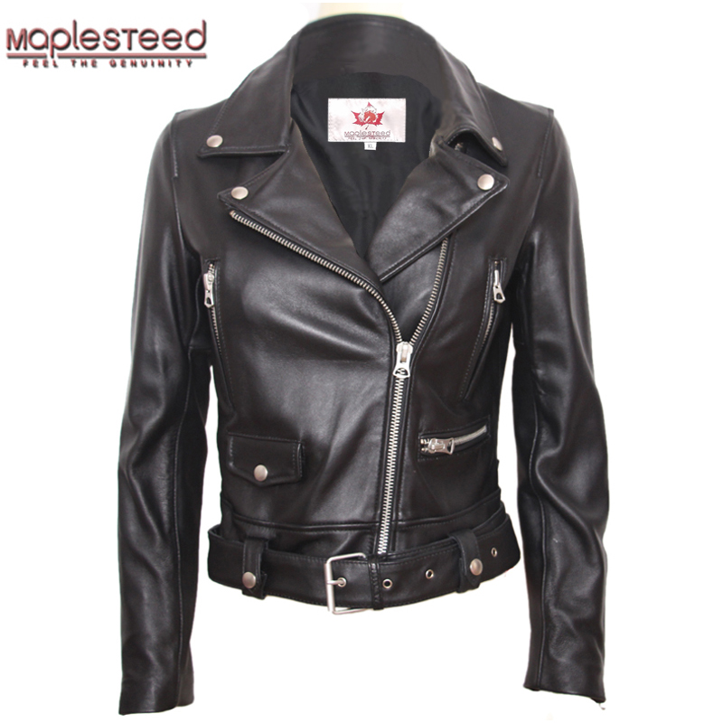 MAPLESTEED Natural Sheepskin Genuine Leather Jacket Women Brand Slim Female Jacket Real Lambskin Outerwear Ladies Clothing  M125