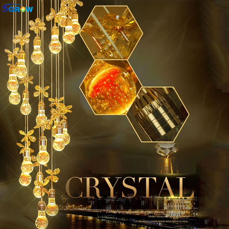 SGROW Modern Style Crystal Chandeliers for Living Room Bedroom Aisle Stairs LED Hanging Lamp Art Deco Indoor Lighting Fixtures|Chandeliers| |  - title=