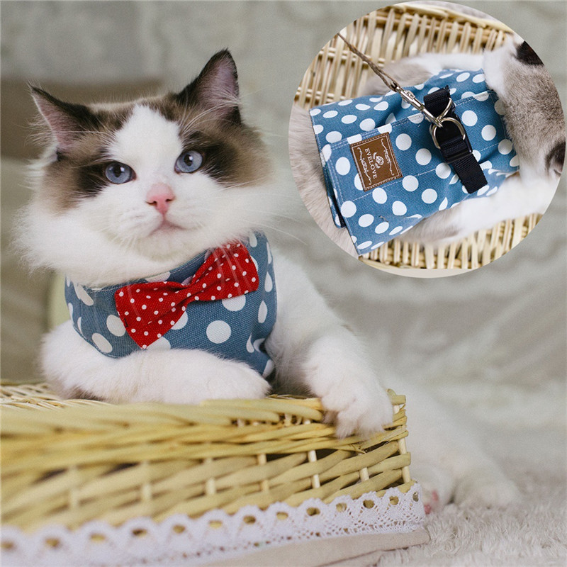 Cat Dog Harness Pet Vest Chest Strap Adjustable Bowtie Mesh Small Puppy Kitten Harness Leash Supplies Dog Accessories in Harnesses from Home Garden